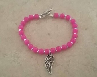 Toggle clasp, pink and silver beads with an angel wing charm