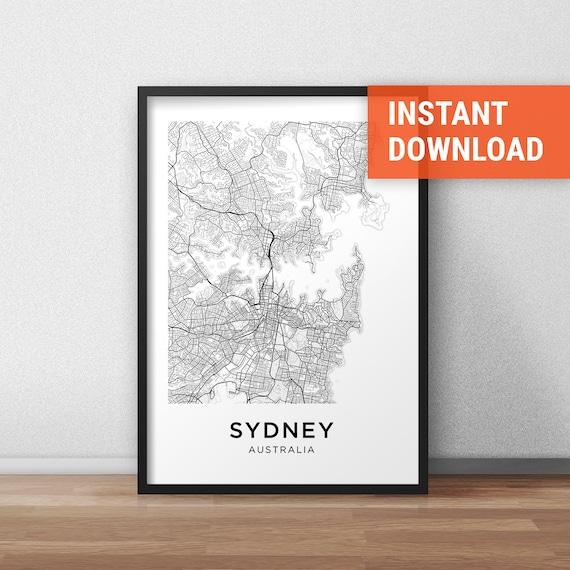 Sydney Map Print Sydney Map Download City Map Sydney Sydney | Etsy