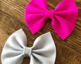 Felt Hair Bows, Felt Hair Clips, Pink Felt Bow, Grey Felt Bow, Set of Bows