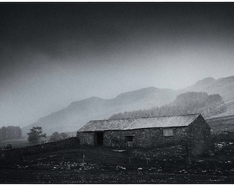 Lone Barn in the rain, Fine Art Black & White image