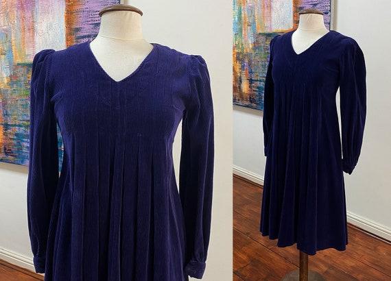 1970's 'Laura Ashley' corduroy smock dress.