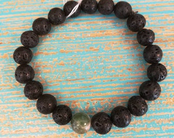 Lava bead with green agate stone bracelet.