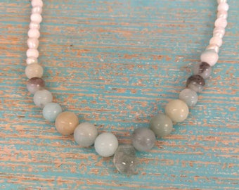 Ocean necklace. Amazonite, shell and genuine pearl necklace. With a translucent Aquamarine nugget that resembles a drop of water.