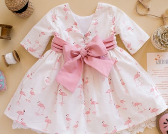638090e83 Adorable Flamingo Lace-hem Long Sleeve White Dress for Baby Girl, Charming  Back Big Pink Bow Wedding Dress for Baby Girl and Toddler