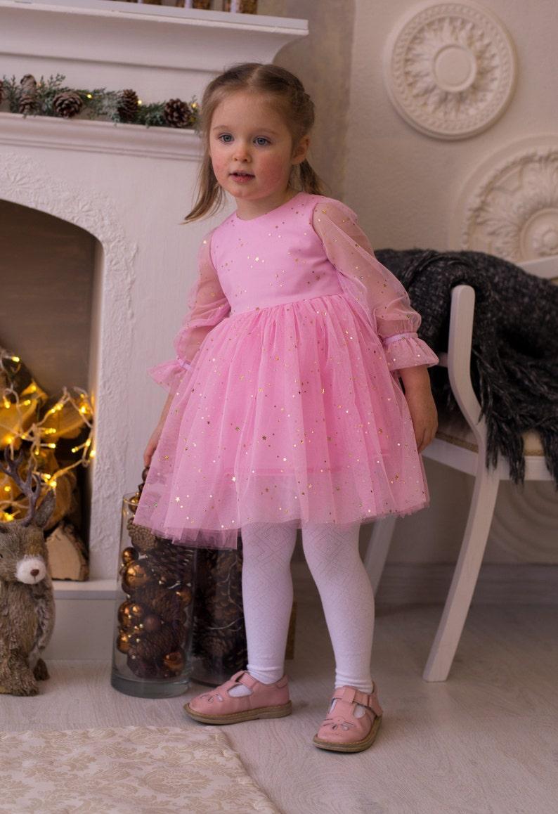 Gold Pink Birthday Dress Baby Tutu Dress Twinkle Twinkle Little Star Birthday Dress Fluffy Twirl Dress Gold and Pink Birthday Outfit