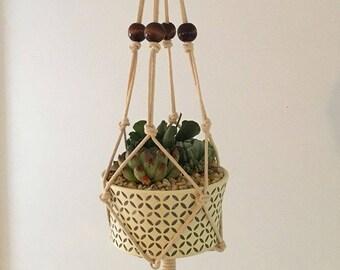 STANDARD // Macrame Plant Hanger with Wooden Beads / Plant Holder / Hanging Planter / Cotton Hanging Plant Holder / Modern Macrame / Home De