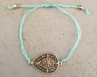 Green teardrop bracelet