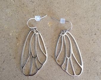 Silver butterfly earring