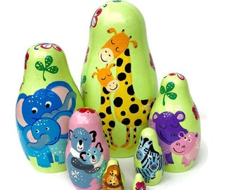 Mommy and me animals nesting dolls for kids, baby and mom, developing toy, Montessori toy, educational toy, safari nursery, Safari animals