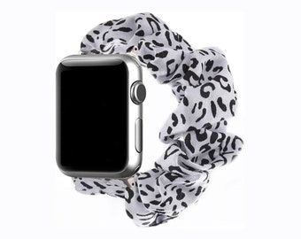 Apple Watch Band 44mm and 42mm scrunchie band white leopard AMDA