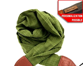 Personalized Gift Camera Strap Shoulder Neck Soft fabric Scarf DSLR / Nikon / Canon / Sony Photo Carrying Strap / Camera Strap  Green