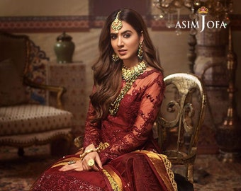 Asim Jofa's Maroon Gold Brides maid dress   Pakistani Bridesmaid dress  Gharara   lehenga