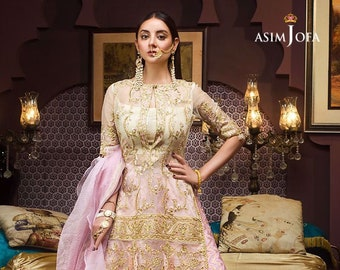 Asim Jofa's Gold and Pink Brides maid dress   Pakistani Bridesmaid dress   Gharara   lehenga