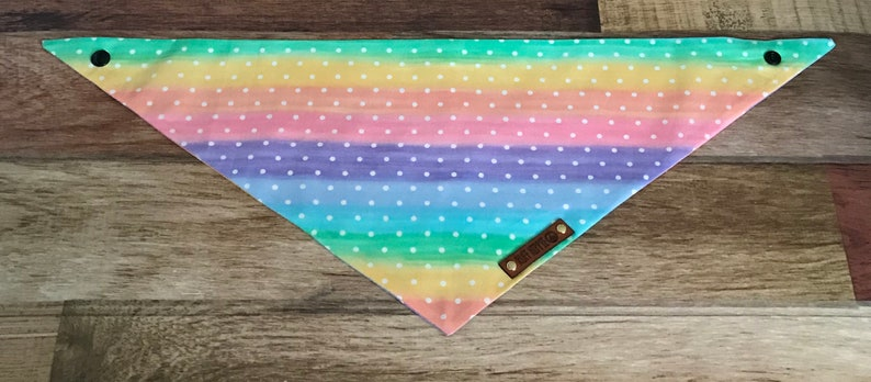 Dog Bandana Puppy gift. Rainbow polka dot print Tie and snap dog bandana Dog gift