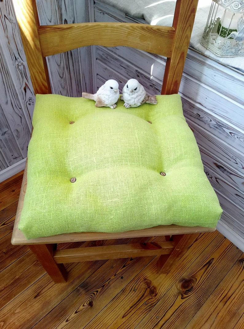 Etsy & Chair Cushions Kitchen Chair pads Chair cushion Chair pad Dining chair cushions with ties Linen chair pads Kitchen chair cover Pillow chair