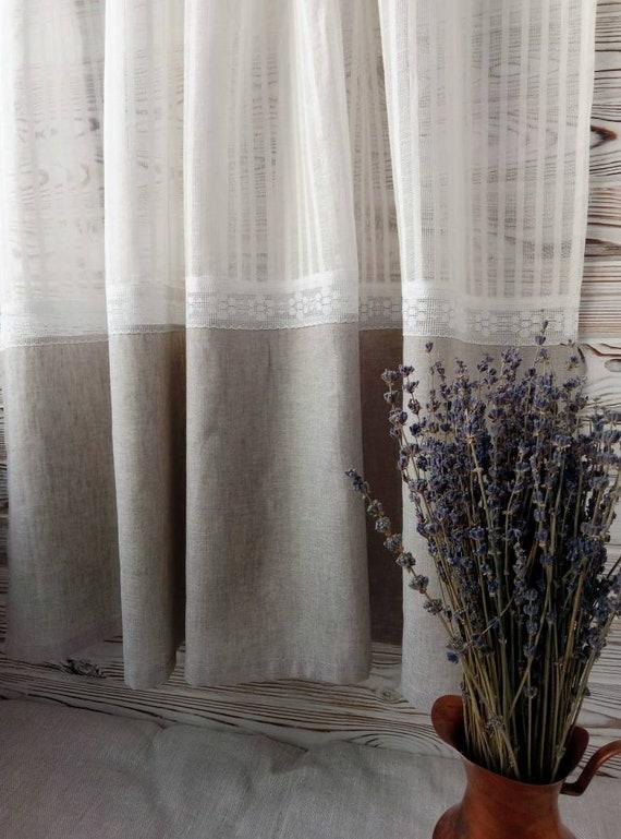 Rustic linen kitchen curtains Framhouse grey linen curtain