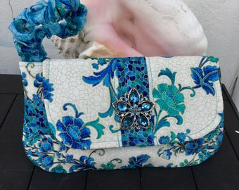 Handmade wristlet, Accented with Crystal embellishment