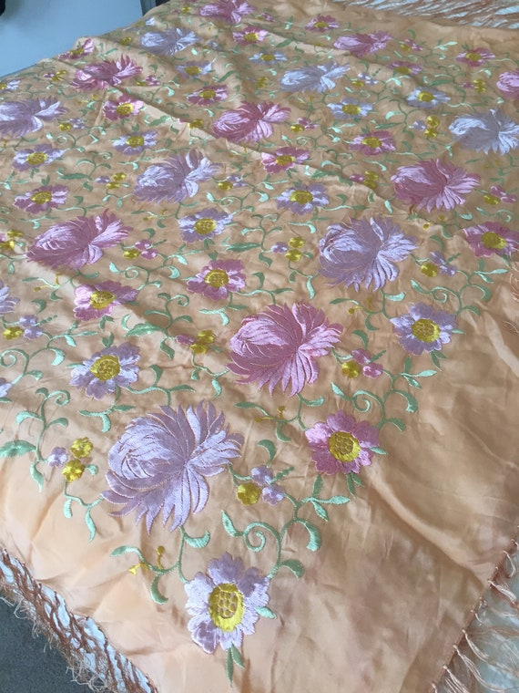 Silk embroidered shawl
