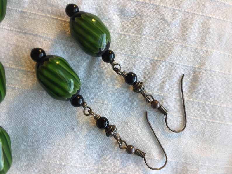 Green Lambwork bead necklace and earrings