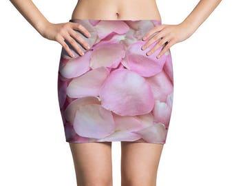 Red Roses Flowers Mini Skirt