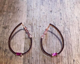 black hoops with pink zircon
