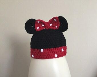 Mini mouse handmade crochet baby hat/ beanie