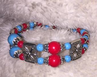 Red, Silver and Turquoise Beaded Bracelet