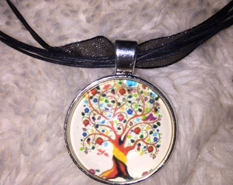 Colorful Tree Pendant Necklace