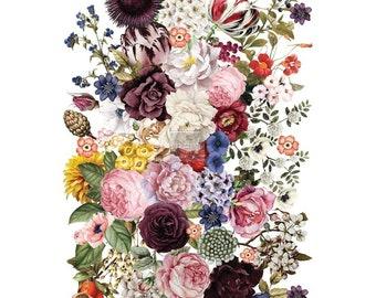 "11/""X14/"" Iron Orchid Designs Decor Transfer Rub-Ons-Nanz Neuner Floral Bouquet"