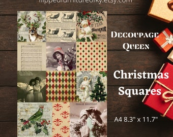 """A4 Christmas Squares - Decoupage Queen Rice Paper (measures 8.3x11.7"""")"""