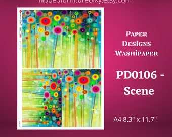 "A4 PD0106- Scene - Paper Designs Washipaper - (approx 8.3"" x 11.7"")"