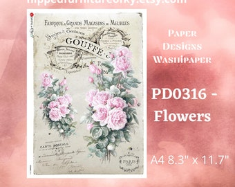 """A4 PD0316- Flowers - Paper Designs Washipaper - (approx 8.3"""" x 11.7"""")"""
