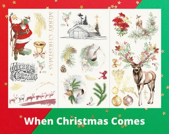 When Christmas Comes Rub-On Transfer - Hokus Pokus - Measures 37″ x 23.6″ (comes in 3 pieces)