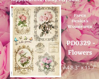 """A4 PD0329- Flowers - Paper Designs Washipaper - (approx 8.3"""" x 11.7"""")"""