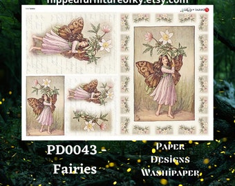 """A4 PD0043- Flowers - Paper Designs Washipaper - (approx 8.3"""" x 11.7"""")"""