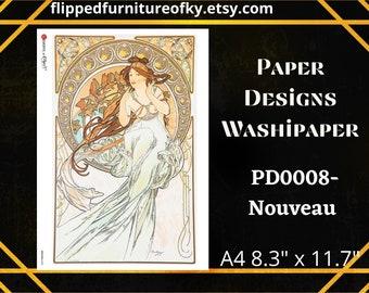 """A4 PD0008- NOUVEAU - Paper Designs Washipaper - (approx 8.3"""" x 11.7"""")"""