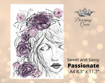 """A4 Sweet and Sassy  Passionate - Decoupage Queen Rice Paper (measures 8.3"""" x 11.7"""")"""