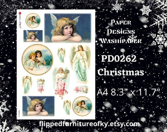 """A4 PD0262 - CHRISTMAS - Paper Designs Washipaper - (approx 8.3"""" x 11.7"""") -  ANGELS"""