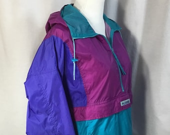 Vintage~Columbia~Women's~Windbreaker~Colorblock~90's~Pullover~Size Large~Zippered Pocket Pouch Jacket Folds into for storage~Vented Back~