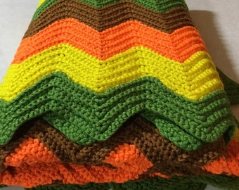 Ripple Afghan~Vintage~Never Used~Orange Yellow Green Brown~Rosanneish~Lovely~Classic 1970's colors~Olive green~Neon Orange~80 x 45""