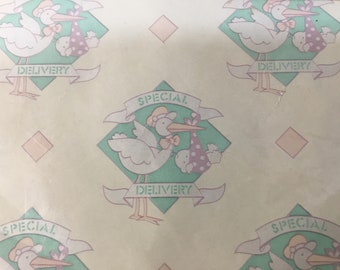 """Artfaire~Vintage Gift Wrap~Wrapping Paper~Baby~Special Delivery~2 Full Size Sheets~8.3 sq. ft. total~Stork~20 x 30"""" each sheet"""