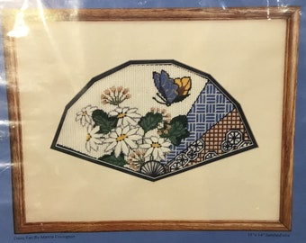Concepts~Complete Needlepoint Kit~Daisy Fan by Marcia Covington~Mat & Frame included~