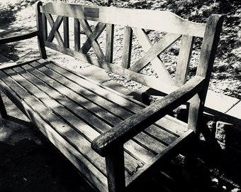 Park Bench Grayscale Photo Print