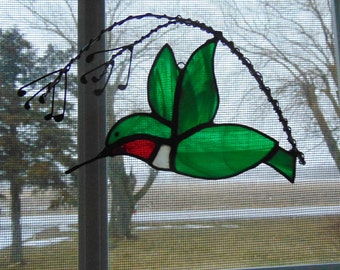 Stained Glass Hummingbird Hanging Window Art