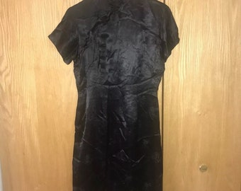 1960s Vintage Black Dress Fashions By Liz of Hong Kong Size 14