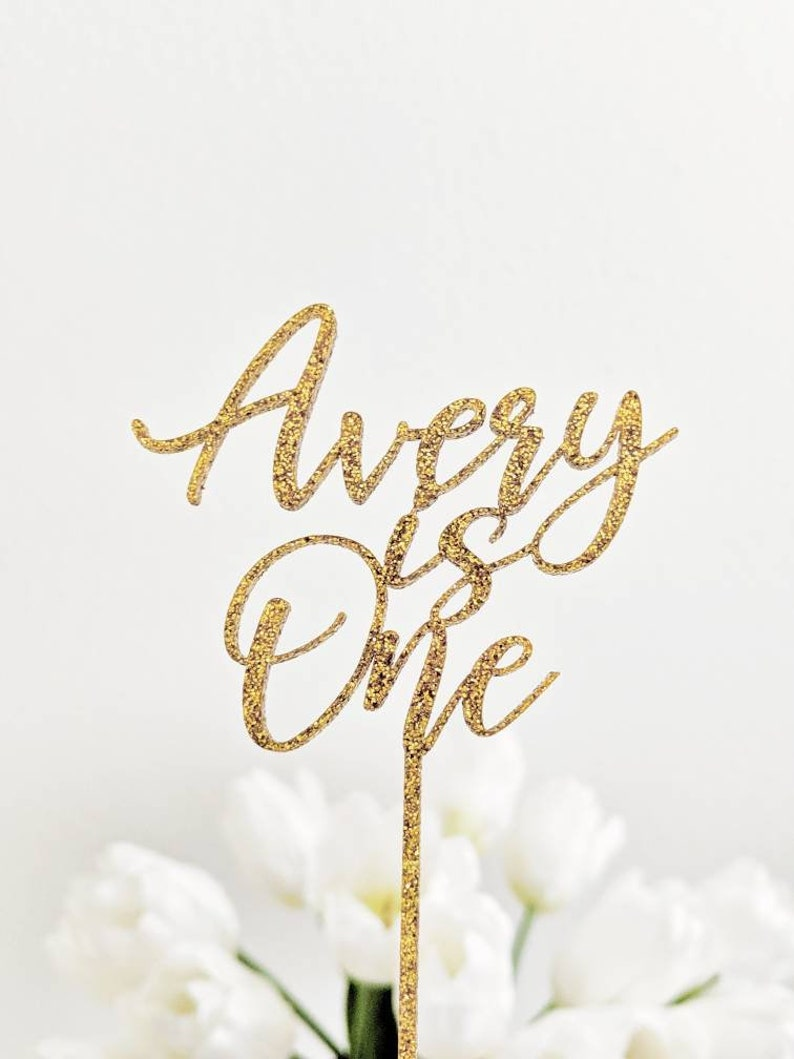 Personalized One Birthday Cake Topper First Birthday Glitter Gold Cake Topper