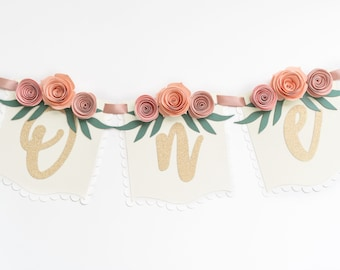 """Floral """"One"""" Banner for Baby Girl 1st Birthday 