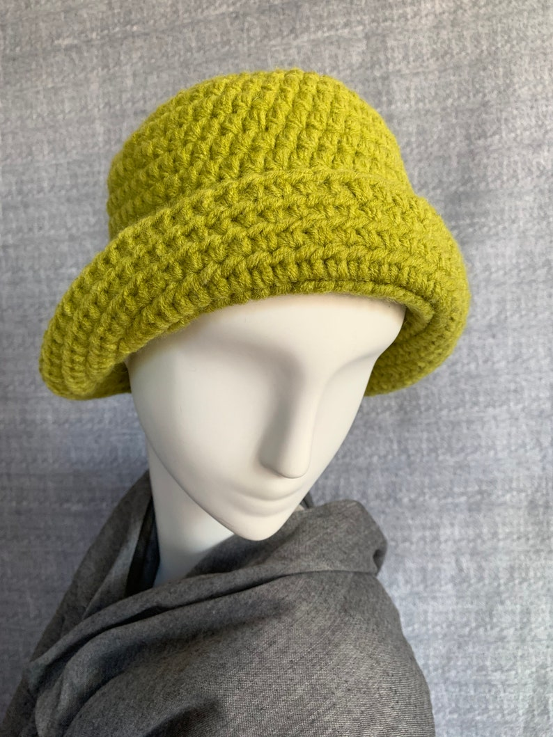 Chartreuse crochet bucket hat