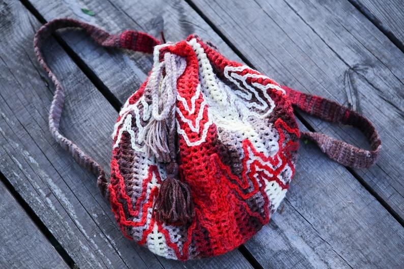 Hippie bag Rainbou knit bag Colorful backpack Multicolor backpack