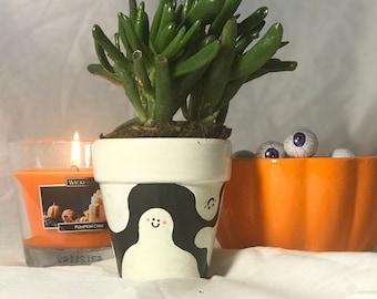Hand-Painted Halloween Cute Ghost Character Cartoon Planter | 100% Terracotta Plant Pot